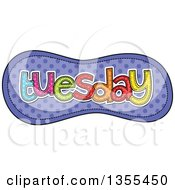 Clipart Of A Cartoon Stitched Tuesday Day Of The Week Over Purple Polka Dots Royalty Free Vector Illustration