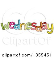 Clipart Of A Cartoon Stitched Wednesday Day Of The Week Royalty Free Vector Illustration