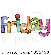 Clipart Of A Cartoon Stitched Friday Day Of The Week Royalty Free Vector Illustration