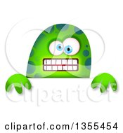 Clipart Of A Blue Eyed Green Spotted Monster Over A Sign Royalty Free Illustration by Prawny