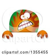 Clipart Of A Green And Orange Spotted Monster Over A Sign Royalty Free Illustration by Prawny