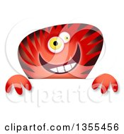 Red And Black Striped Monster Over A Sign