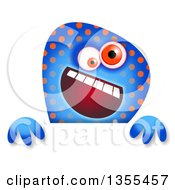 Clipart Of A Blue And Orange Spotted Monster Over A Sign Royalty Free Illustration by Prawny