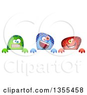 Clipart Of Green Blue And Red Monsters Over A Sign Royalty Free Illustration by Prawny