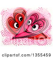 Clipart Of A Doodled Intimate Heart Couple Over Halftone Dots Royalty Free Illustration