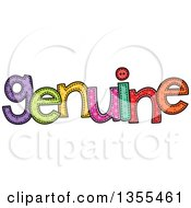 Clipart Of A Cartoon Stitched Word Genuine Royalty Free Vector Illustration by Prawny