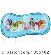 Clipart Of A Cartoon Stitched Word Genuine Over Blue Polka Dots Royalty Free Vector Illustration