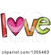Clipart Of A Cartoon Stitched Word Love Royalty Free Vector Illustration