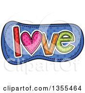 Clipart Of A Cartoon Stitched Word Love Over Blue Polka Dots Royalty Free Vector Illustration by Prawny