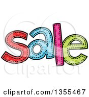 Clipart Of A Cartoon Stitched Word Sale Royalty Free Vector Illustration