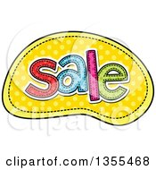 Clipart Of A Cartoon Stitched Word Sale Over Yellow Polka Dots Royalty Free Vector Illustration by Prawny