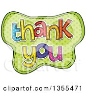 Clipart Of Cartoon Stitched Words Thank You Over Grene Polka Dots Royalty Free Vector Illustration