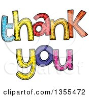 Clipart Of Cartoon Stitched Words Thank You Royalty Free Vector Illustration