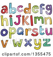 Clipart Of Cartoon Stitched Alphabet Letters Royalty Free Vector Illustration