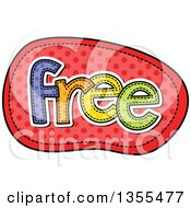 Clipart Of A Cartoon Stitched Word FREE Over Red Polka Dots Royalty Free Vector Illustration by Prawny
