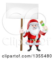 Clipart Of A Christmas Santa Claus Holding A Green Paintbrush And Blank Sign Royalty Free Vector Illustration by AtStockIllustration