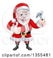Poster, Art Print Of Happy Christmas Santa Claus Carpenter Holding A Hammer And Giving A Thumb Up