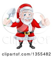 Clipart Of A Cartoon Santa Giving A Thumb Up And Holding A Garden Trowel Royalty Free Vector Illustration by AtStockIllustration