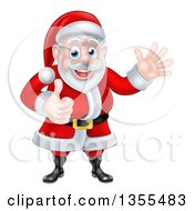 Clipart Of A Cartoon Happy Christmas Santa Claus Giving A Thumb Up And Waving Royalty Free Vector Illustration