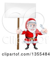 Clipart Of A Happy Christmas Santa Holding An Adjustable Wrench Tool And Blank Sign Royalty Free Vector Illustration