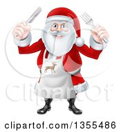 Clipart Of A Happy Christmas Santa Claus Wearing An Apron And Holding Silverware Royalty Free Vector Illustration