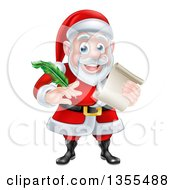 Clipart Of A Cartoon Happy Christmas Santa Claus Holding A Parchment Scroll And Quill Pen Royalty Free Vector Illustration by AtStockIllustration