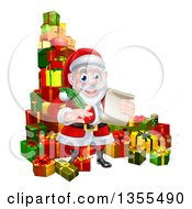 Clipart Of A Cartoon Happy Christmas Santa Claus Holding A Parchment Scroll And Quill Pen In A Pile Of Gifts Royalty Free Vector Illustration by AtStockIllustration