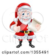 Clipart Of A Cartoon Happy Christmas Santa Claus Holding A Parchment Scroll And Giving A Thumb Up Royalty Free Vector Illustration