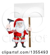 Clipart Of A Christmas Santa Claus Holding A Window Cleaning Squeegee And Blank Sign Royalty Free Vector Illustration by AtStockIllustration