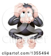 Clipart Of A Cartoon Black Hear No Evil Wise Monkey Covering His Ears Royalty Free Vector Illustration by AtStockIllustration