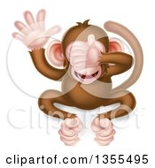 Clipart Of A Cartoon See No Evil Wise Monkey Covering His Eyes Royalty Free Vector Illustration