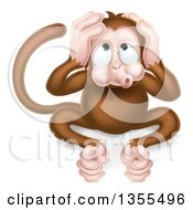Clipart Of A Cartoon Hear No Evil Wise Monkey Covering His Ears Royalty Free Vector Illustration by AtStockIllustration