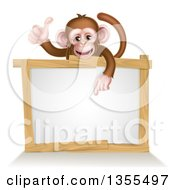 Cartoon Brown Happy Baby Chimpanzee Monkey Giving A Thumb Up And Pointing Down To A Blank White Sign