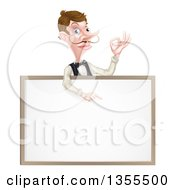 Cartoon Caucasian Male Waiter With A Curling Mustache Gesturing Ok And Pointing Down Over A Blank Menu Sign