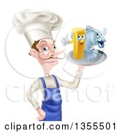 White Male Chef With A Curling Mustache Holding Fish And A French Fry Character On A Tray