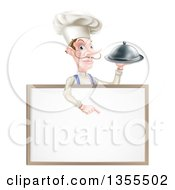 Clipart Of A Snooty White Male Chef With A Curling Mustache Holding A Silver Cloche Platter And Pointing Down Over A Blank Menu Sign Royalty Free Vector Illustration