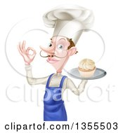 Clipart Of A Snooty White Male Chef With A Curling Mustache Holding A Cupcake On A Tray And Gesturing Okay Royalty Free Vector Illustration