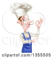 Clipart Of A White Male Chef With A Curling Mustache Gesturing Ok And Pointing Royalty Free Vector Illustration