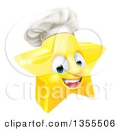 Clipart Of A 3d Happy Golden Chef Star Emoji Emoticon Character Royalty Free Vector Illustration