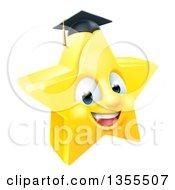 Clipart Of A 3d Happy Golden Graduate Star Emoji Emoticon Character Royalty Free Vector Illustration by AtStockIllustration