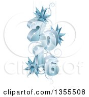 Clipart Of A 3d Icy Suspended New Year 2016 Design With Star Ornaments And Swirls Royalty Free Vector Illustration by AtStockIllustration
