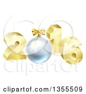 Clipart Of A 3d Gold Suspended New Year 2016 Design With A Bauble Royalty Free Vector Illustration by AtStockIllustration