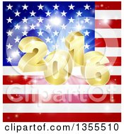 Clipart Of A 3d Gold New Year 2016 Burst Over An American Flag And Fireworks Royalty Free Vector Illustration by AtStockIllustration
