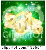 Clipart Of A 3d Gold New Year 2016 Burst Over A Brazilian Flag And Fireworks Royalty Free Vector Illustration by AtStockIllustration