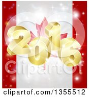 Clipart Of A 3d Gold New Year 2016 Burst Over A Canadian Flag And Fireworks Royalty Free Vector Illustration