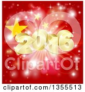 Clipart Of A 3d Gold New Year 2016 Burst Over A Chinese Flag And Fireworks Royalty Free Vector Illustration by AtStockIllustration