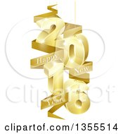 Clipart Of A 3d Gold Suspended New Year 2016 Design With A Text Banner Royalty Free Vector Illustration by AtStockIllustration
