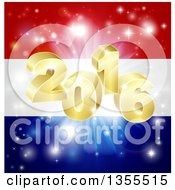 Clipart Of A 3d Gold New Year 2016 Burst Over A Dutch Flag And Fireworks Royalty Free Vector Illustration by AtStockIllustration
