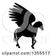 Clipart Of A Black Silhouette Of A Walking Winged Pegasus Horse Royalty Free Vector Illustration