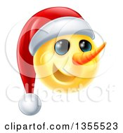 Clipart Of A 3d Yellow Snowman Smiley Emoji Emoticon Wearing A Christmas Santa Hat Royalty Free Vector Illustration by AtStockIllustration